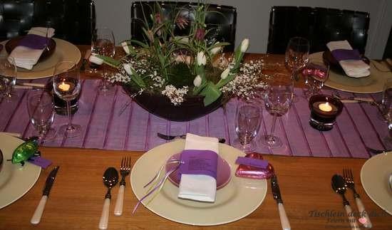 tischdekoration f r ein perfektes dinner in lila tischlein deck dich. Black Bedroom Furniture Sets. Home Design Ideas