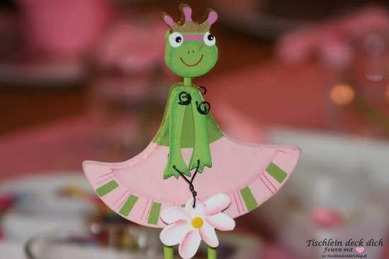 Froschpaerchen rosa gruen für Tischdeko Kindergeburtstag