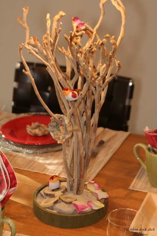 Tischdekoration Vögelein Vogelbaum