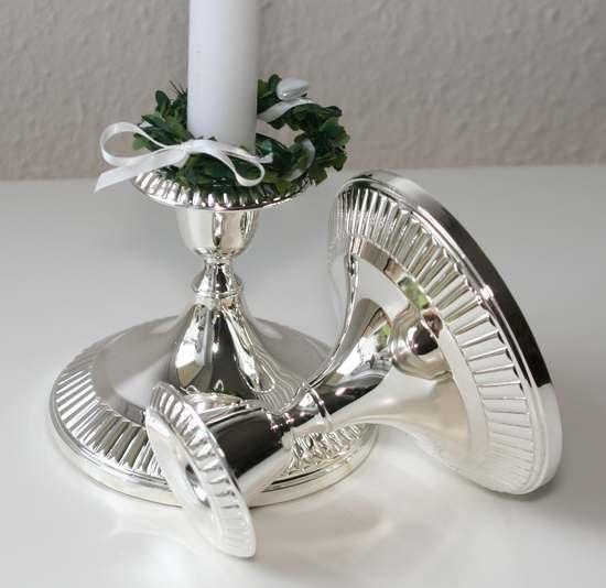 Kerzenleuchter silber zum Verleih bei Tischleindeckdich-Muenster.de